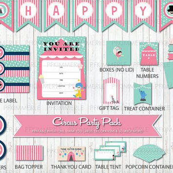 Pink Circus Themed Birthday, Printable Party Pack,DIY, Banner, Invitation, Favors, Cupcake Toppers, Decorations, Ringmaster, Clown, Carnival