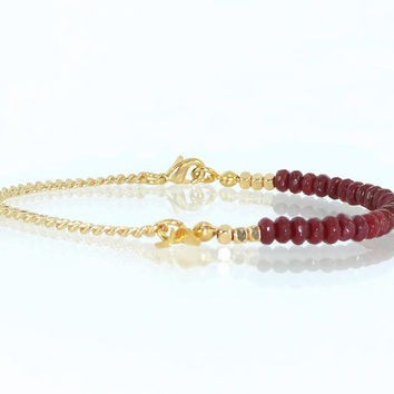 Gemstones Bracelet, Ruby Jade Small Beads, Dainty Beadwork  Bracelet, Layering  Beaded Bracelet, Unique Gold & Gem Bracelet By Inbal Mishan.