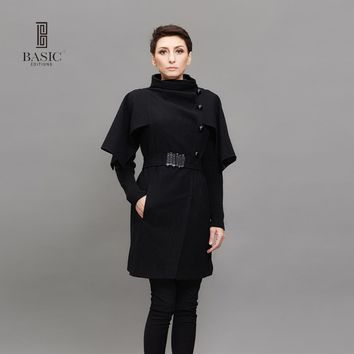 Basic Editions Spring Women Slim Fit Detachable Butterfly Sleeves Long Wool Coat -  MA1057-001