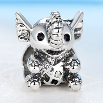 2015 New European Lovely Little Elephant Silver Alloy Bead Charm Fit Pandora Women DIY Bracelets & Bangles Necklace YW15609