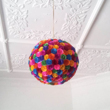 Colourful paper flowers hanging light shade - wedding lighting, kids lighting