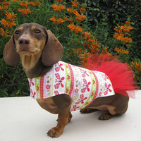 Dog Dress Butterflies Red Tutu Easter Spring by CamargoCreations