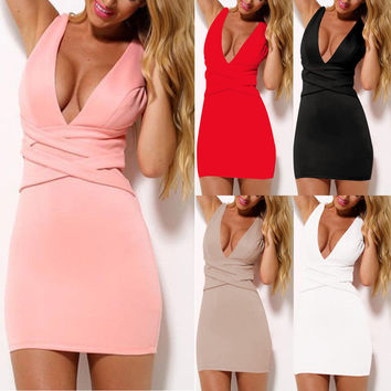 Bodycon Deep V-neck Sleeveless Short Slim Cocktail Dress