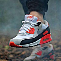 NIKE AIR MAX 90 fashion ladies men running sports shoes sneakers F-PS-XSDZBSH Black orange grey-3