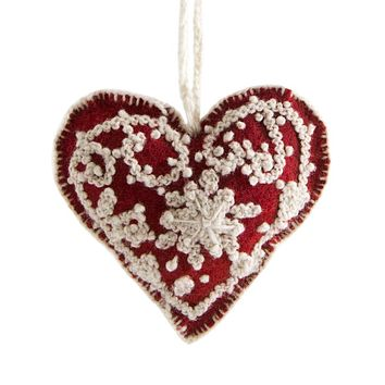 GGPxNEST Heart Embroidered Holiday Ornament