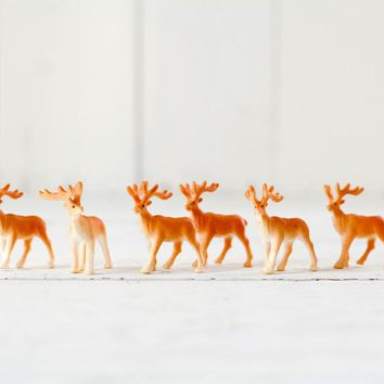 Reindeer Figurines - Miniature Plastic Deer for Crafts
