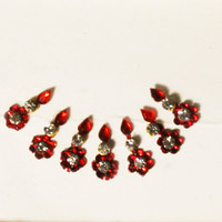 Bollywood Floral Maroon Small Bindis / Tribal Bindi in New Styles.
