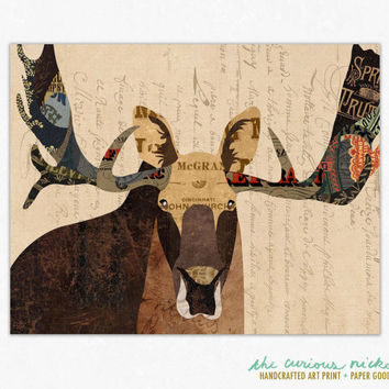 Moose Art - Collage Art Poster Print - Fine Art Collage Illustration Print