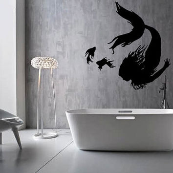 """FREE SHIPPING """"Mermaid & Fish"""" Wall Decal Custom Size and Color"""