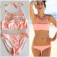 Pink Push up Bikini Set Halter Bandage Swimwear Swimsuit
