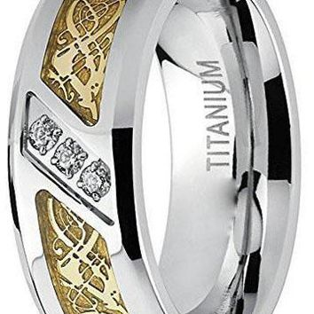 8mm Titanium Wedding Ring Engagement Band with Dragon Design and Cubic Zirconia,