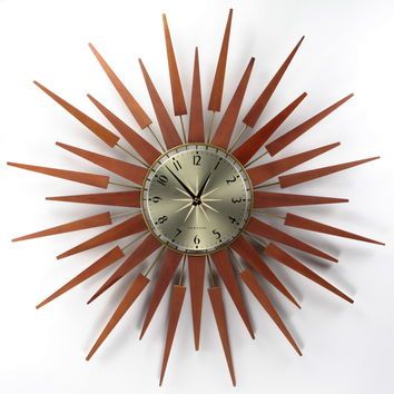 George Nelson-Style Sunburst Wall Clock