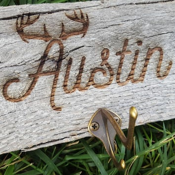 Limited Edition-Rustic Personalized Wood Coat/ Towel Hanger/Deer/Antler/Hunting/Rustic