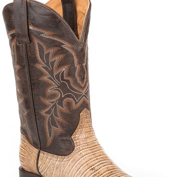 Roper Mens Faux Exotic On Leather Sq Toe Boots Teju Lizard 11 Shaft