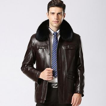 Thick Fur Collar Winter Jacket Men Medium Long Warm Lining