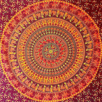 BROWN Mandala Cotton Tapestry, Hippie Large Wall Hanging, Mandala Elephant Bedspread Throw, Bohemian Boho Bedding Ethnic Home Decor