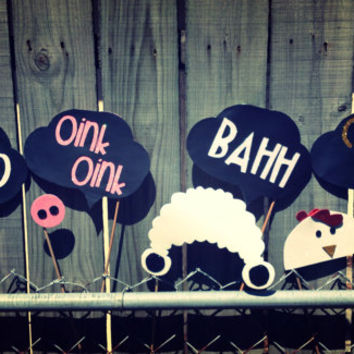 Farm Animal Glitter Photo Booth Props Bundle; Cow Prop, Sheep Prop, Pig Prop, Chicken Prop, with Word Bubbles (Handmade)