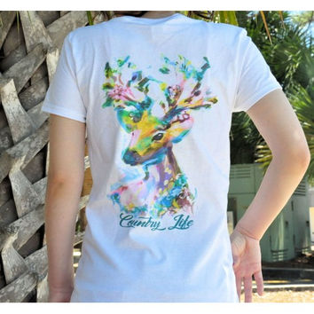 Country Life Outfitters Watercolor Deer Ladies V-Neck Fitted T-Shirt