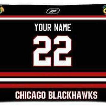 Custom Chicago Blackhawks Hockey Pillow Case With Your Name and Numbers Pillow Cover Rectangle Throw Pillowcase Zippered Cover