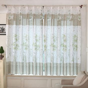 Bamboo Print Sheer Curtains For Living Room