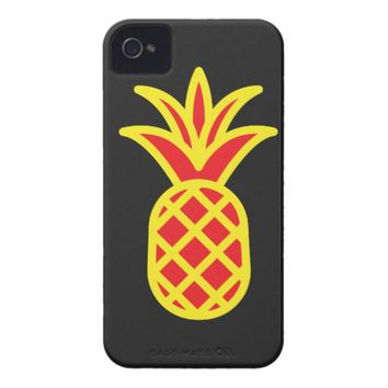 Yellow Pine Apple in Black iPhone 4 Case