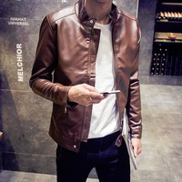 Men's Biker Faux Leather Jacket