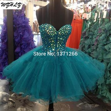 Light Pink And Royal Blue Crystals Rhinestones Designer Cocktail Dresses Tulle Short Prom Dresses