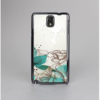 The Vintage Teal and Tan Abstract Floral Design Skin-Sert Case for the Samsung Galaxy Note 3