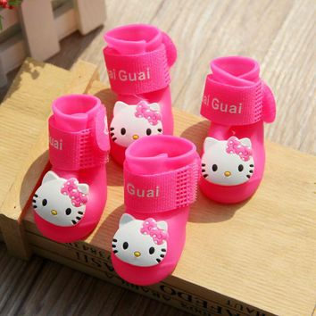 Hello Kitty Pet Dog Rain Shoes For Small Dogs Waterproof Boots Puppy Teddy Shoes