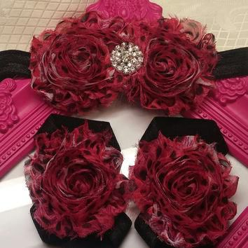 Red and Black Headband and Barefoot Sandal Set