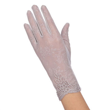 New Women Brand Gloves Anti-UV Lace Gloves Women Summer Outdoor Driving Gloves Mittens Ladies Party Sexy Lace Long Gloves