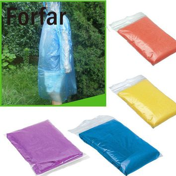 Forfar 1 Pcs Disposable Waterproof Hood Poncho Travel Coat Rain Unisex for hiking cycling camping drifting 4 Colors