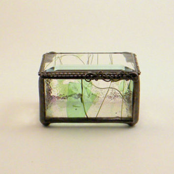 "Woodland Inspired Stained Glass Jewelry Box, Keepsake Box, 2 x 3"", Bridesmaid Gift, Mother's Day Gift, Maid of Honor Gift, Green"