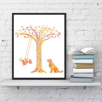 Nursery decor Girl on swing Dog print Watercolor art Kids room decor Woodland nursery Nature art Minimalist Instant download GIFT UNDER 10