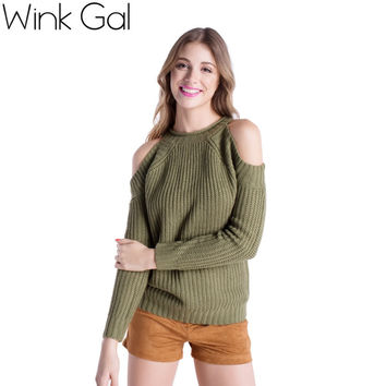Wink Gal Wink Gal 2015 Womens Fall Fashion Sexy Off Shoulder Long Sleeve Women Christmas Sweaters and Pullovers Promotion 1616