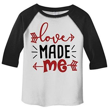 Shirts By Sarah Toddler Love Made Me Valentines Day Heart Arrow 3/4 Sleeve T-Shirt