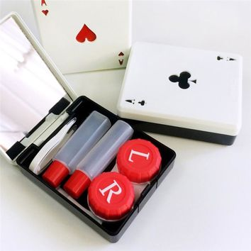Imixlot 1set Cute Poker Card Clubs Diamonds Hearts A Contact Lens Case for Lenses Container Box for Glasses Randomly Color