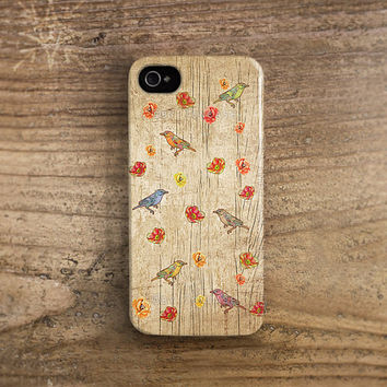 Birds iPhone 5 case wood print on plastic iPhone 4 case Floral iPhone 4s case vintage wood flower drawing drawn Flower iphone 5 case /c189