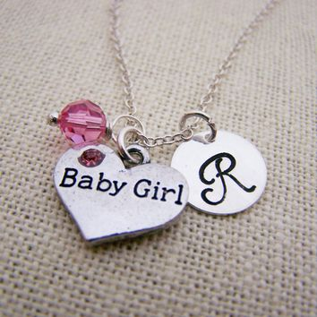 Baby Girl Necklace - Swarovski Birthstone Initial Personalized Sterling Silver Necklace - Gift for Her - New Baby Necklace - New Mom Gift