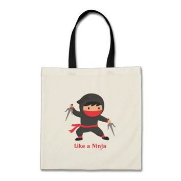 Cute Ninja Kid with Sai Weapons for Kids Tote Bag