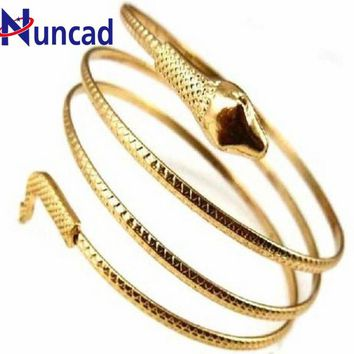 1 Piece Punk Fashion Coiled Snake Spiral Upper Arm Cuff Armlet Armband Bangle Bracelet Women/Men Jewelry Party Barcelets NYBR17