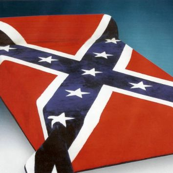 Soft Red, Blue and White Confederate State Rebel Flag Blanket Queen or Full Bed