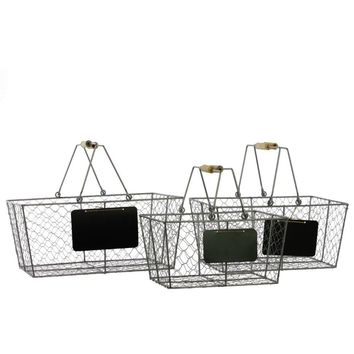 Set Of Three Metal Wire Basket Rectangular - Silver