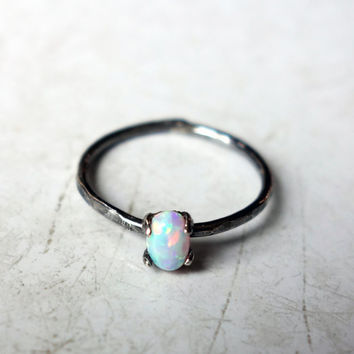 Opal Grain of Rice Ring- Tiny Sterling Silver and Lab Created Opal Ring