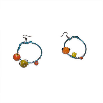 Blue Wire Hoop Earrings with Orange and Yellow Glass