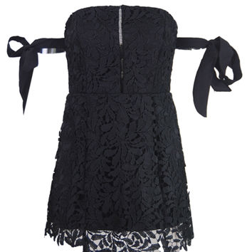 Black Bardot Tie Sleeve Cutwork Lace Ladder Mini Dress