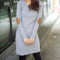 Elbow Patch Long Solid Color Shirt Dress