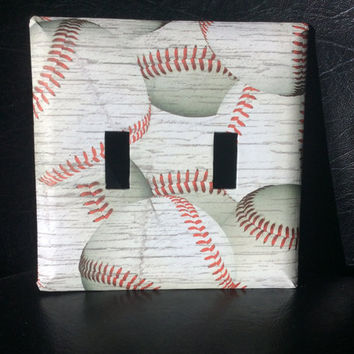 Double Switch Cover Baseball, Baseball Double Switchplate, Baseball Nursery Decor
