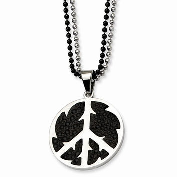 Stainless Steel Black Stingray & Peace Symbol Double Necklace