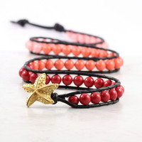 Coral Red Orange Pink Beaded Wrap Bracelet Ombre Black Leather Jewelry Starfish Beach Fashion Triple Wrap